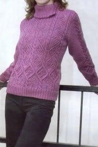 Pullover mit Zopf-Rautenmuster