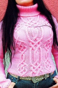 Zopfmuster Pullover in Rose
