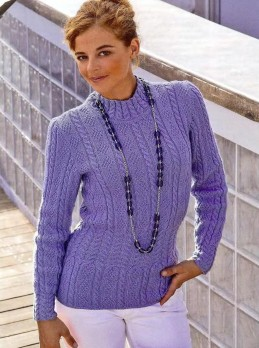 Pullover mit Rauten- und Zopfmuster