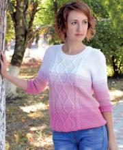 3/4 Arm Damen-Pullover mit Zopfmuster