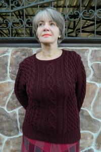 Pullover mit Zopf- und Rautenmuster