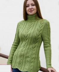 Pullover im Blatt-Zopfmuster