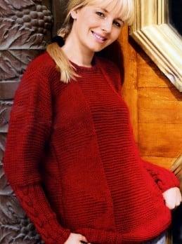 Pullover mit Krausrippen und Zöpfen