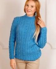Pullover mit Zopf- und Noppenmuster