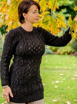 Longpullover mit Ajour-Zopfmuster