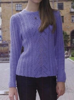 Pullover mit Ajourstreifen