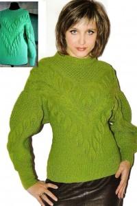 Pullover mit Blatt- und Zopfmuster