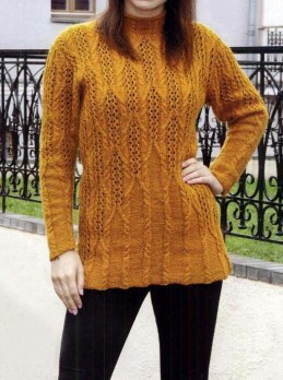 Pullover mit Ajour-Zopfmuster