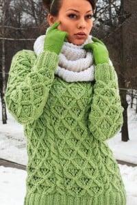 Winterpullover mit Rautenmuster