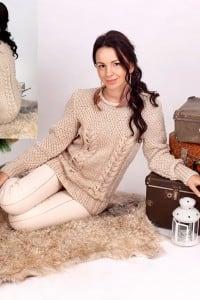 Pullover mit Perl- und Zopfmuster