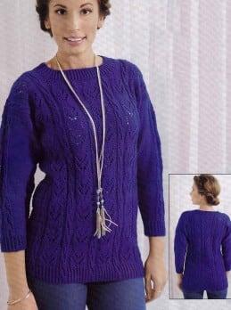 Pullover im Ajour-Zopfmuster