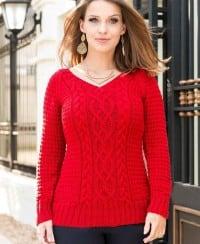 Pullover mit Zopf- und Fantasiemuster