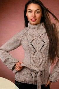 Pullover mit Rauten-Zopfmuster